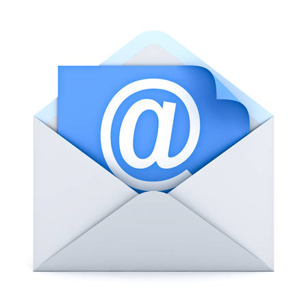 e mail: White at sign mail on paper in envelope E mail concept isolated on white background. 3D rendering. Stock Photo