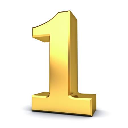 numero uno: 3D oro número uno aislado sobre fondo blanco. representación 3D. Foto de archivo