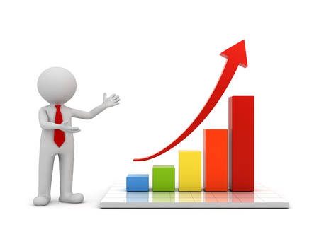 man presenting: 3d man standing and presenting growth business graph with red rising arrow concept isolated over white background with reflection. 3D rendering.