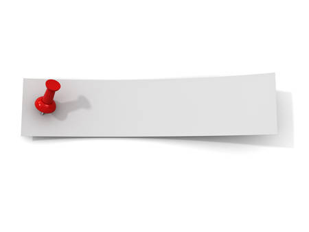 paper strip: White paper strip note with red push pin isolated on white background with shadow. 3D rendering.
