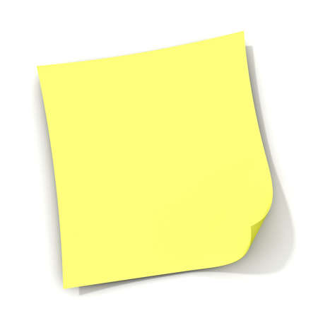 memory board: Yellow sticky note isolated on white background with shadow. 3D rendering.