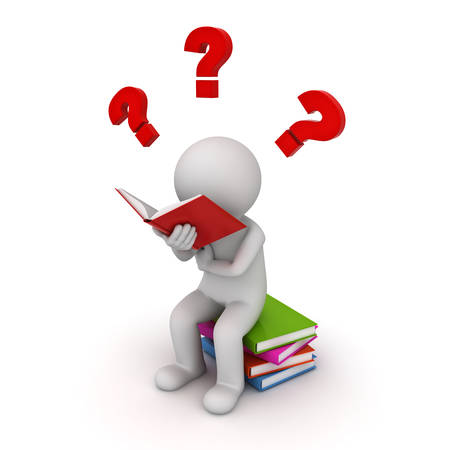 3d man sitting on a pile of books and reading with red question marks isolated over white background. 3D rendering.