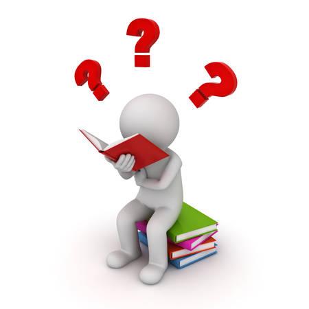Mann 3d, der auf einem Stapel der Bücher sitzt und mit roten Fragezeichen isoliert auf weißem Hintergrund zu lesen. 3D-Rendering. Standard-Bild