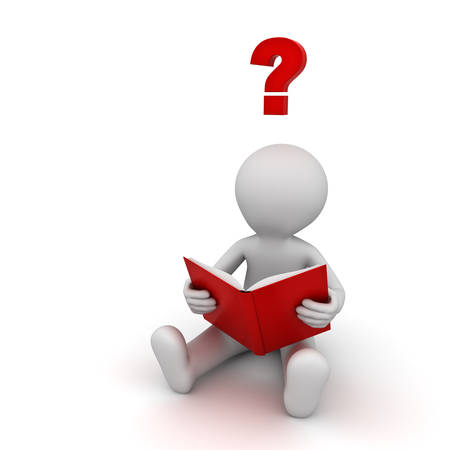 book mark: 3d man sitting and reading a book with red question mark isolated over white background. 3D rendering.