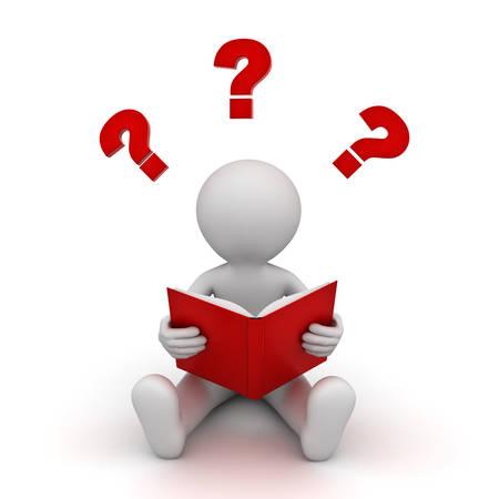 座っている白い背景に分離されたクエスチョン マークで赤い本を読んで 3 d 男。3 D レンダリング。 写真素材