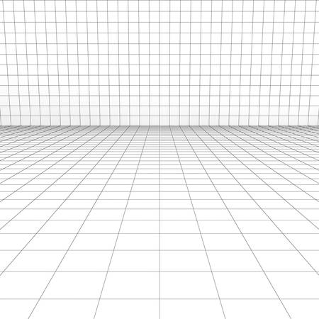 perspective grid: Perspective grid over white background. 3D rendering. Stock Photo
