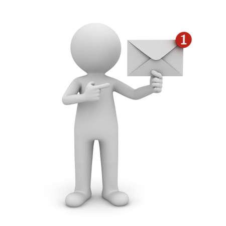 hombre 3d que sostiene la notificación del correo E en su mano un nuevo mensaje de correo electrónico en el buzón de entrada concepto aislado sobre fondo blanco con la sombra. representación 3D.
