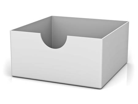 ebox: Empty box isolated on white background with reflection and shadow 3D rendering
