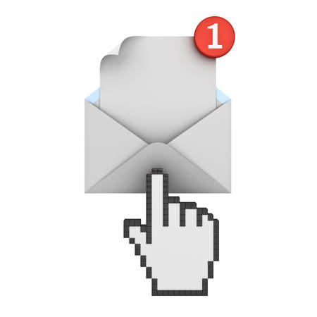 e new: Hand cursor clicking E mail notification one new email message in the inbox concept isolated on white background with shadow. 3D rendering. Stock Photo
