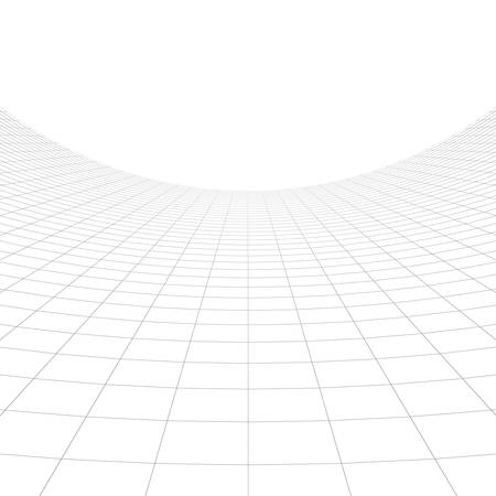 interior cell: Perspective grid over white background. 3D rendering. Stock Photo