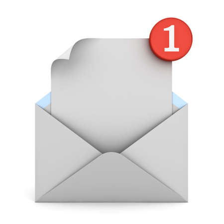 informing: E mail notification one new email message in the inbox concept isolated on white background with shadow. 3D rendering. Stock Photo