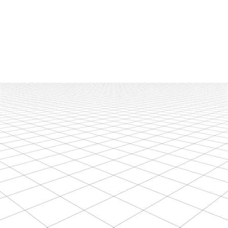 grid: Perspective grid over white background. 3D rendering. Stock Photo