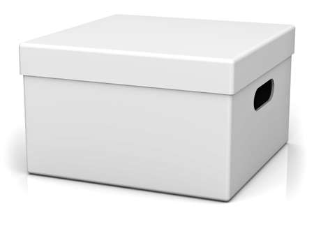 ebox: Blank storage box with top lid isolated on white background with reflection and shadow. 3D rendering.