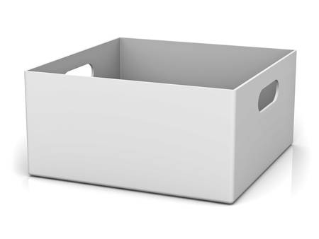ebox: Blank storage box with top lid isolated on white background with reflection and shadow 3D rendering