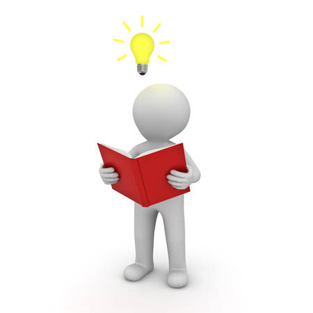 3d man standing and reading a book with idea bulb above his head isolated over white background