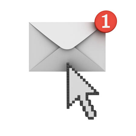 e new: Arrow cursor clicking E mail notification one new email message in the inbox concept isolated on white background with shadow Stock Photo