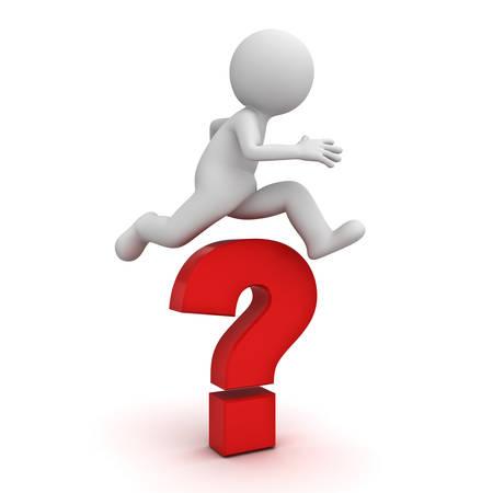 3d hombre salta sobre el gran signo de interrogación o un problema de concepto de color rojo aisladas sobre fondo blanco con la sombra de representación 3D