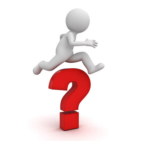 3d man jump over the big red question mark or problem concept isolated over white background with shadow 3D rendering