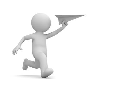 running man: 3d man running with paper plane in hand isolated on white background with shadow. 3D rendering.