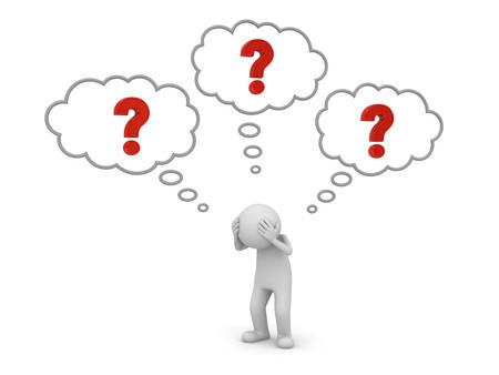 3 d 人立って、思想泡白背景 3 D レンダリング上分離された彼の頭概念上に赤い疑問符と考えて