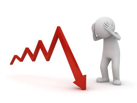 3d hombre dolor de cabeza con el gráfico de la flecha hacia abajo o un problema de negocios aislados sobre fondo blanco Representación 3D