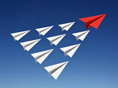 avión de papel rojo conduce aviones de papel blanco en el cielo azul concepto de la dirección de renderizado 3D