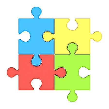 Colorful jigsaw puzzle pieces concept isolated over white background 3D rendering Stock Photo