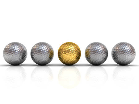 Gold golf ball among silver golf balls stand out from the crowd concept isolated on white background with shadow and reflection 3D rendering