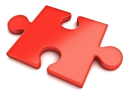 Red jigsaw puzzle piece isolated on white background with shadow