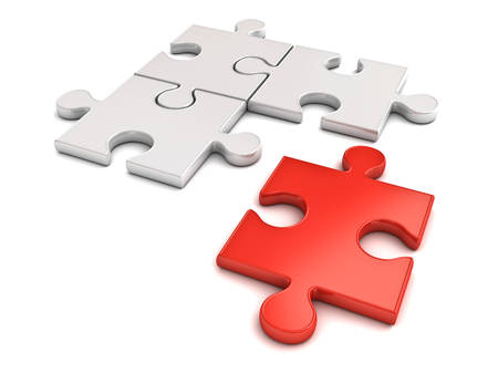 Red jigsaw puzzle piece stand out from the crowd different concept isolated on white background with shadow 3D rendering Stock Photo