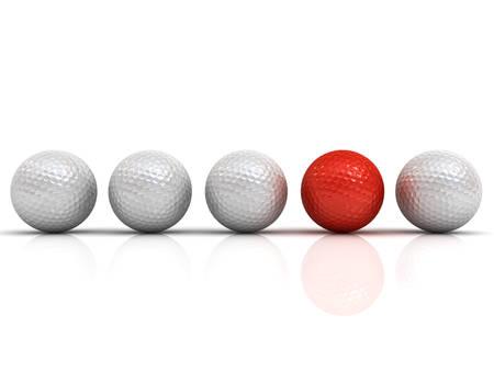 Rote Golfball unter weißen Golfbälle heben sich von der Masse Konzept heraus isoliert auf weißem Hintergrund mit Schatten und Reflexionen