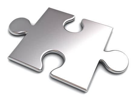 Metal jigsaw puzzle pieces isolated on white background with shadow 3D rendering Stock Photo