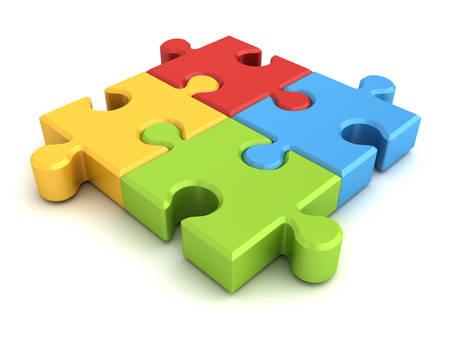 Bunte Puzzle-Stück-Konzept auf weißem Hintergrund mit Schatten isoliert. 3D-Rendering. Standard-Bild
