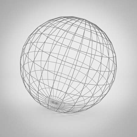 wireframe globe: Simple globe earth wireframe over gray background with shadow. 3D rendering.