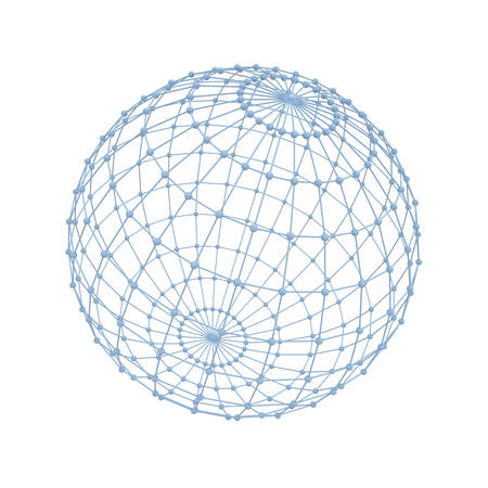 wireframe globe: Global network concept isolated over white background 3D rendering