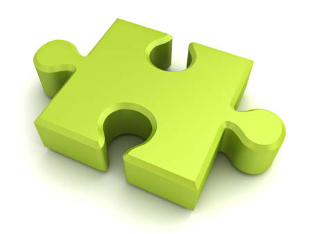 Green jigsaw puzzle piece isolated on white background with shadow. 3D rendering.