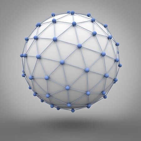 Concepto de la red global sobre fondo gris. representación 3D.