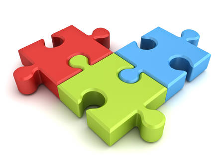 color match: Colorful jigsaw puzzle pieces concept isolated on white background with shadow. 3D rendering.