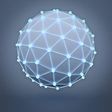 blue sphere: Global network concept over dark background 3D rendering