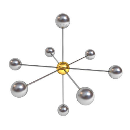 3d network structure concept with gold sphere in the center isolated on white background with shadow. 3D rendering.