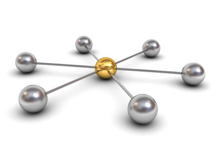 network marketing: 3d network structure concept with gold sphere in the center isolated on white background with shadow 3D rendering Stock Photo