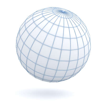 Simple globe earth isolated over white background with shadow. 3D rendering.