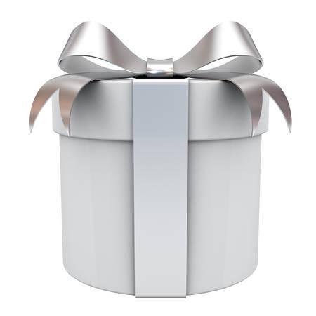 Caja de regalo con la cinta de plata arco aislado sobre fondo blanco Representación 3D Foto de archivo