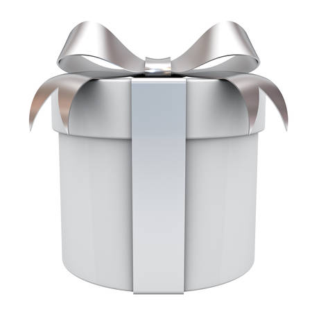 Gift box present with silver ribbon bow isolated on white background 3D rendering Stock Photo