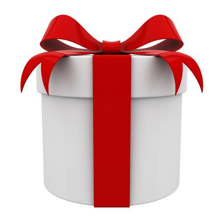 Caja de regalo con la cinta roja arco aislado sobre fondo blanco Representación 3D Foto de archivo