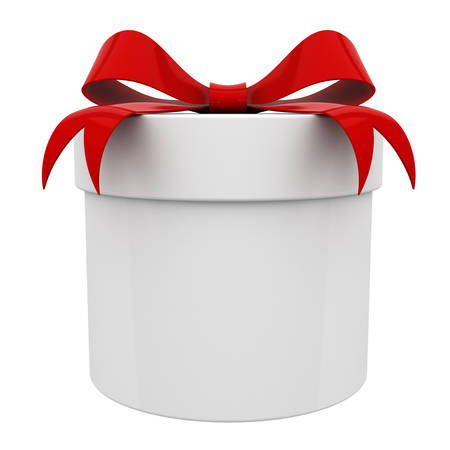 red tape: Gift box present with red ribbon bow isolated on white background 3D rendering Stock Photo