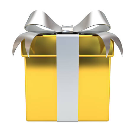 Gold Gift box with silver ribbon bow isolated on white background 3D rendering