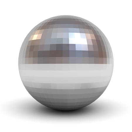 bearing: Metallic polygonal chrome sphere isolated over white background with shadow 3D rendering Stock Photo