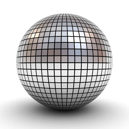chrome ball: Metallic polygonal chrome sphere or disco ball isolated over white background with shadow 3D rendering Stock Photo