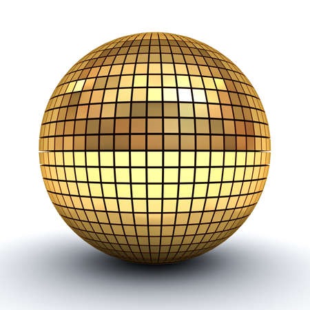golden ball: Golden polygonal sphere isolated over white background with shadow 3D rendering